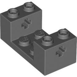 LEGO part 67446 Brick Special 2 x 4 x 1 1/3 with Axle Holes and 2 x 2 Cutout in Dark Stone Grey / Dark Bluish Gray