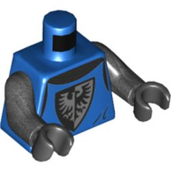 LEGO part 973c47h03pr0001 Torso Armor, Black and Silver Falcon Symbol, Dark Bluish Grey Cloak print, Pearl Dark Grey Arms, Black Hands in Bright Blue/ Blue