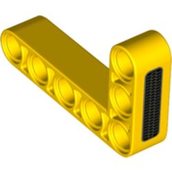 LEGO part 76934 Technic Beam 3 x 5 L-Shape Thick with Grill print in Bright Yellow/ Yellow