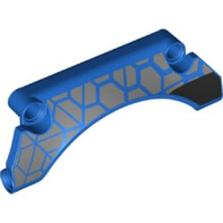 LEGO part 76935 Technic Panel Car Mudguard Arched 3 x 9 x 2 with Light Bluish Grey/Black Decorations print in Bright Blue/ Blue