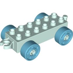 LEGO part 14639 Duplo Car Base 2 x 6 with Open Hitch End and Medium Azure Wheels with Fake Bolts in Aqua/ Light Aqua