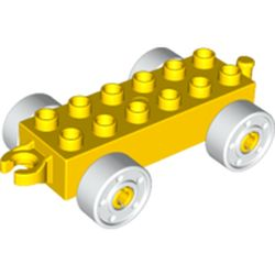 LEGO part 14639 Duplo Car Base 2 x 6 with Open Hitch End and White Wheels with Fake Bolts in Bright Yellow/ Yellow