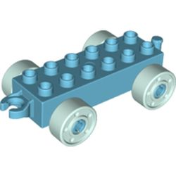 LEGO part 14639 Duplo Car Base 2 x 6 with Open Hitch End and Light Aqua Wheels with Fake Bolts in Medium Azure