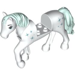 LEGO part 76950 Animal, Horse with Raised Leg, Light Auqa Mane and Tail, Stars print in White
