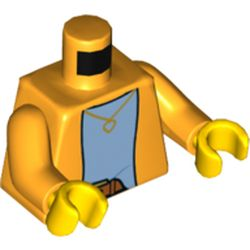 LEGO part 76382 Torso Jacket Over Light Blue Undershirt Print, Bright Light Orange Arms, Yellow Hands in Flame Yellowish Orange/ Bright Light Orange