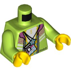 LEGO part 973c18h01pr5450 Torso Jacket with Magenta Collar, Open over Bare Chest with Lanyard ID Badge, and Star Necklace Print, Lime Arms, Yellow Hands in Bright Yellowish Green/ Lime