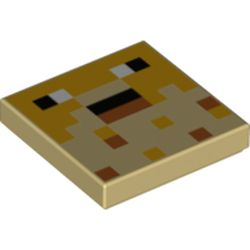 LEGO part 76943 Tile 2 x 2 with Pixelated Face, Black Eyes print in Brick Yellow/ Tan