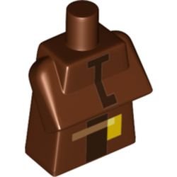 LEGO part 76968 Torso Special, Long with Folded Arms with Dark Brown Stripe, Honey Print in Reddish Brown