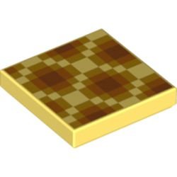 LEGO part 76969 Tile 2 x 2 with Pixalated Honeycomb print in Cool Yellow/ Bright Light Yellow
