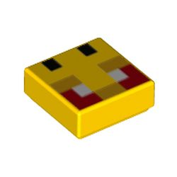 LEGO part 76970 Tile 1 x 1 with Pixelated Bee Face, Red Eyes print in Bright Yellow/ Yellow