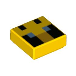 LEGO part 76971 Tile 1 x 1 with Pixelated Bee Face, Blue Eyes print in Bright Yellow/ Yellow
