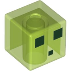 LEGO part 76972 Minifig Head Special, Cube with Minecraft Black Squares Print in Transparent Bright Green/ Trans-Bright Green