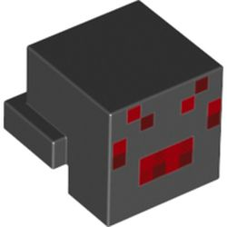 LEGO part 76973 Minifig Head Special, Cube with Rear Ledge and Minecraft Red/Dark Red Pixelated Face Print (Spider) in Black