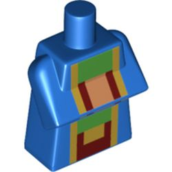 LEGO part 76975 Torso Special, Long with Folded Arms with Green/Bright Light Orange/Dark Red print in Bright Blue/ Blue