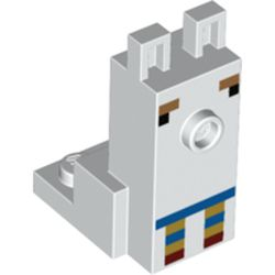 LEGO part 76976 Animal, Minecraft Llama Torso with Dark Brown Eyes, Blue/Red/Tan Decorations in White