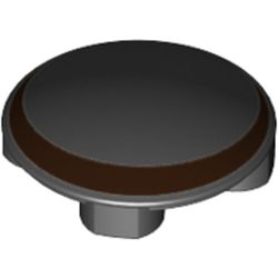 LEGO part 76980 Plate Round 2 x 2 with Rounded Bottom with Reddish Brown Crescent Print in Black