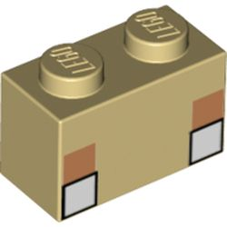 LEGO part 3004pr0070 Brick 1 x 1 with White Square Eyes print in Brick Yellow/ Tan