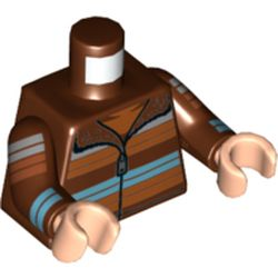LEGO part  Minifig Torso Dark Orange/Medium Azure/White Striped Sweater, Zipper, Fur in Reddish Brown