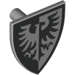LEGO part  Minifig Shield Triangular with Black Falcon and Black Border Print in Medium Stone Grey/ Light Bluish Gray