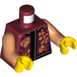 LEGO part  Torso With Black Shirt, Flowers Print, Medium Dark Flesh Arms, Yellow Hands in Dark Red