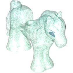 LEGO part 77076 Animal, Horse with Stud in Cut-out in Transparent Blue with Opalescence/ Satin Trans-Light Blue