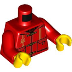 LEGO part  Torso  with Laces, Gold Mandarin Symbol, Pockets Print, Red Arms, Yellow Hands in Bright Red/ Red