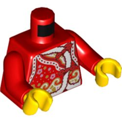 LEGO part  Torso with White Fur Trim, Flowers, Golden Waves Print, Red Arms, Yellow Hands in Bright Red/ Red