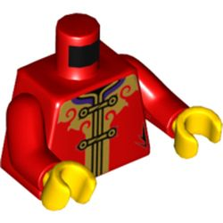 LEGO part  Torso with Black Laces, Gold Decorations/Trim Print, Red Arms, Yellow Hands in Bright Red/ Red