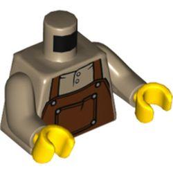 LEGO part  Torso Apron,  Reddish Brown with Pocket print, Dark Tan Arms, Yellow Hands in Sand Yellow/ Dark Tan