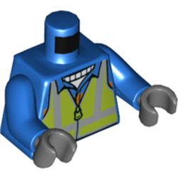 LEGO part 76382 Torso Safety Vest, Lime with Reflective Stripes over Jacket with Orange Stripe Print, Blue Arms, Dark Bluish Gray Hands in Bright Blue/ Blue