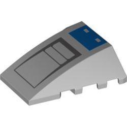 LEGO part 47753pr0021 Wedge Curved 4 x 4 No Top Studs with Blue/Dark Bluish Grey Shapes Print in Medium Stone Grey/ Light Bluish Gray