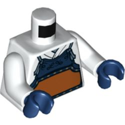 LEGO part 76382 Torso Armor, Dark Blue with Orange Panel over Robes Print, White Arms, Dark Blue Hands in White