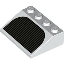 LEGO part 3297pr0028 Slope 33° 3 x 4 with Black Grill Print in White