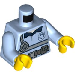 LEGO part 76382 Torso Shirt with Belt with Pouches, Handset and Police Badge / 'POLICE' Belt with Pouches and Radio on Back Print, Bright Light Blue Arms, Yellow Hands in Light Royal Blue/ Bright Light Blue