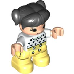 LEGO part 37994 Duplo Figure Child with Ponytails and Bangs Black, with Light Flesh Face and Hands, Bright Light Yellow Legs, Black Heart, Light Green Collar Print in White
