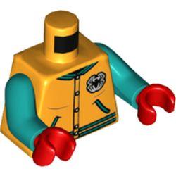 LEGO part 973c46h22pr5477 MINI UPPER PART, NO. 5477 in Flame Yellowish Orange/ Bright Light Orange