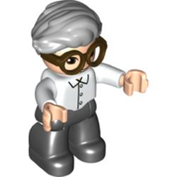 LEGO part 65242 Duplo Figure with Hair Swept Right Light Bluish Gray, Black Legs, Shirt Print and Brown Glasses in White