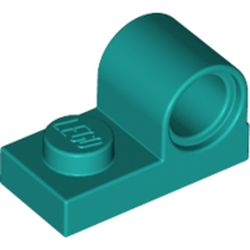 LEGO part 11458 Plate Special 1 x 2 with Pin Hole on Top in Bright Bluish Green/ Dark Turquoise