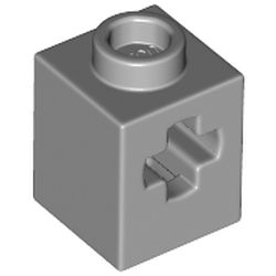 LEGO part 73230 Brick 1 x 1 with Axle Hole in Medium Stone Grey/ Light Bluish Gray