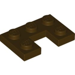 LEGO part 73831 Plate 2 x 3 with 1 x 1 Cutout in Dark Brown