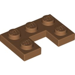 LEGO part 73831 Plate 2 x 3 with 1 x 1 Cutout in Medium Nougat