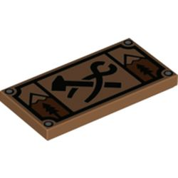 LEGO part  Tile 2 x 4 with Sign, Black Hammer/Clamp, Tree, Mountain print in Medium Nougat