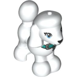 LEGO part 77291 Animal, Dog Poodle with Dark Turquoise Belt print in White