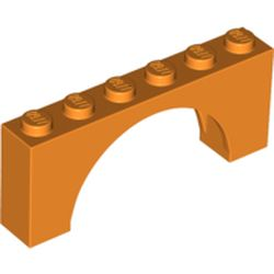 LEGO part 15254 Brick Arch 1 x 6 x 2 - Thin Top without Reinforced Underside [New Version] in Bright Orange/ Orange