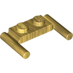 LEGO part 3839b Plate Special 1 x 2 with Handles [Flat Ends / Low Attachment] in Warm Gold/ Pearl Gold