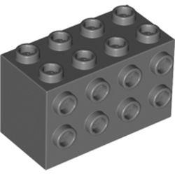 LEGO part 2434 Brick Special 2 x 4 x 2 with Studs on Sides in Dark Stone Grey / Dark Bluish Gray