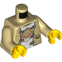 LEGO part  Torso Jacket, White Shirt, Clamps, Grinning Monkey Print, Tan Arms, Yellow Hands in Brick Yellow/ Tan