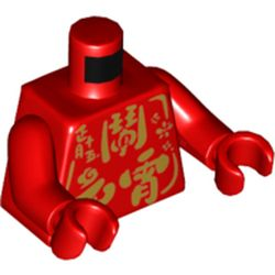 LEGO part  Torso with Gold Mandarin Print, Red Arms, Red Hands in Bright Red/ Red