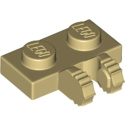 LEGO part 60471 Hinge Plate 1 x 2 Locking with 2 Fingers on Side, 9 Teeth in Brick Yellow/ Tan