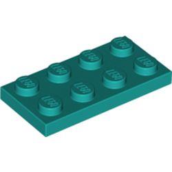 LEGO part 3020 Plate 2 x 4 in Bright Bluish Green/ Dark Turquoise